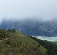 View of trail, river, and fog